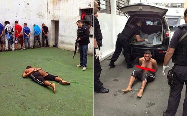 Fotos da travesti Verônica Bolina espancada e nua; imagens foram postadas em páginas do Facebook (Reprodução/Facebook)