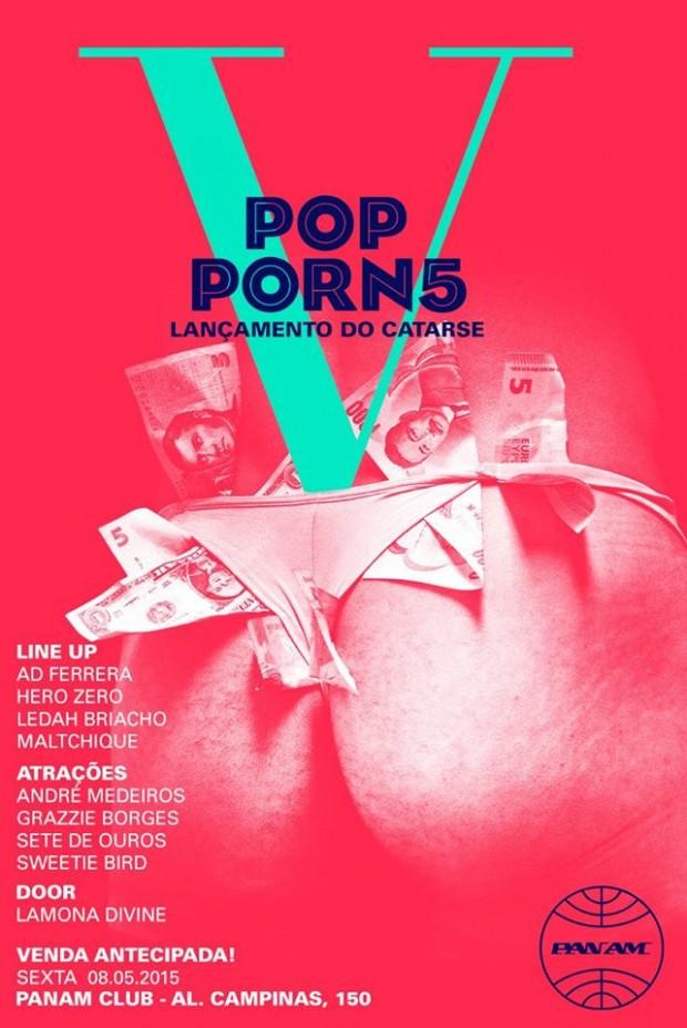 Flyer da festa no PamAm, em São Paulo, com fundos revertidos para o PopPorn Festival (Divulgação)